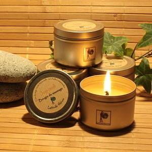 22 25h bougie voyage aromatherapie en cire de soja 100 naturelle parfum e aux huiles. Black Bedroom Furniture Sets. Home Design Ideas