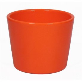 Pot conique orange Diam 12 cm, haut 9 cm. Contient environ 45 cl - 450g de cire