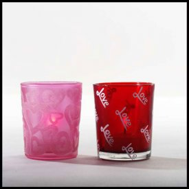 "Verre à bougie votive ""Love"" 10cl - 75g. deco rose ou rouge"